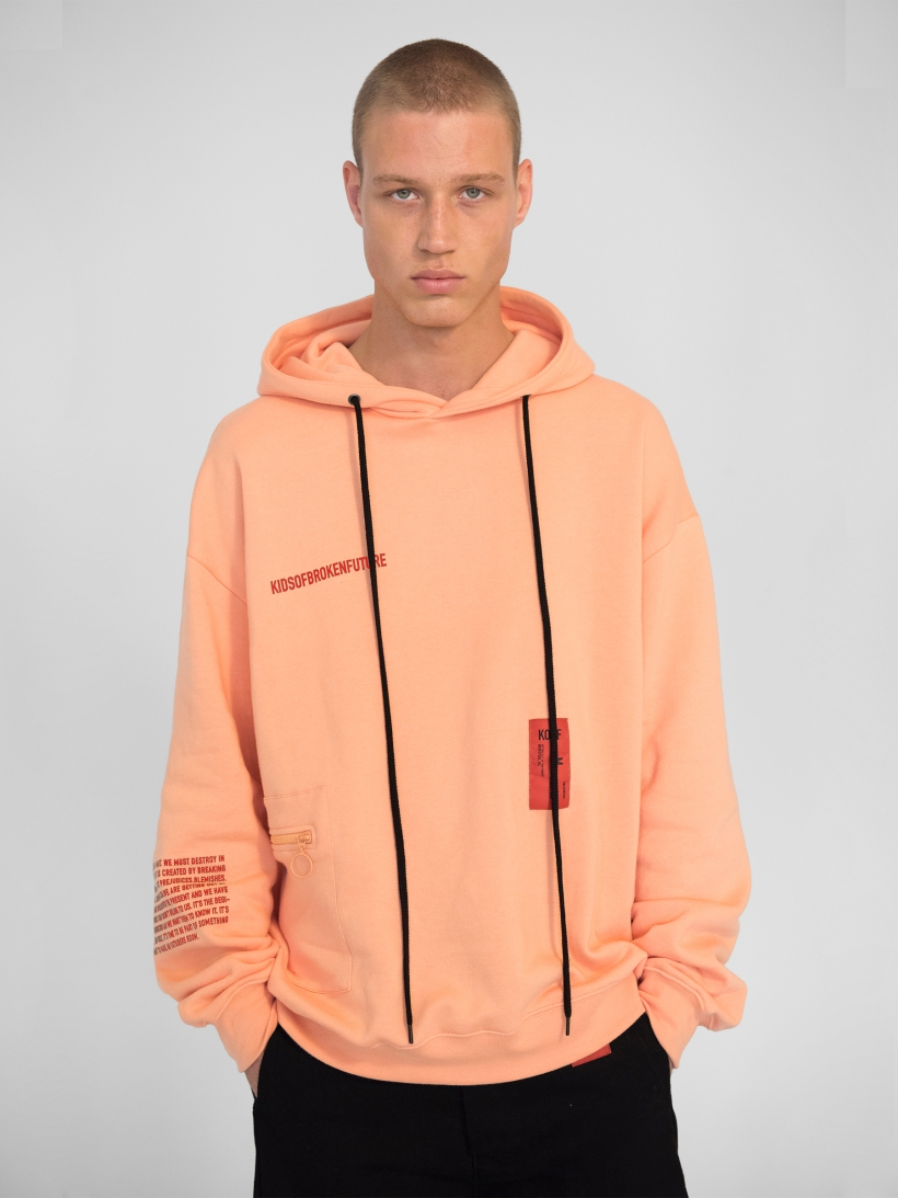 FANNY PACK HOODIE SHELL CORAL